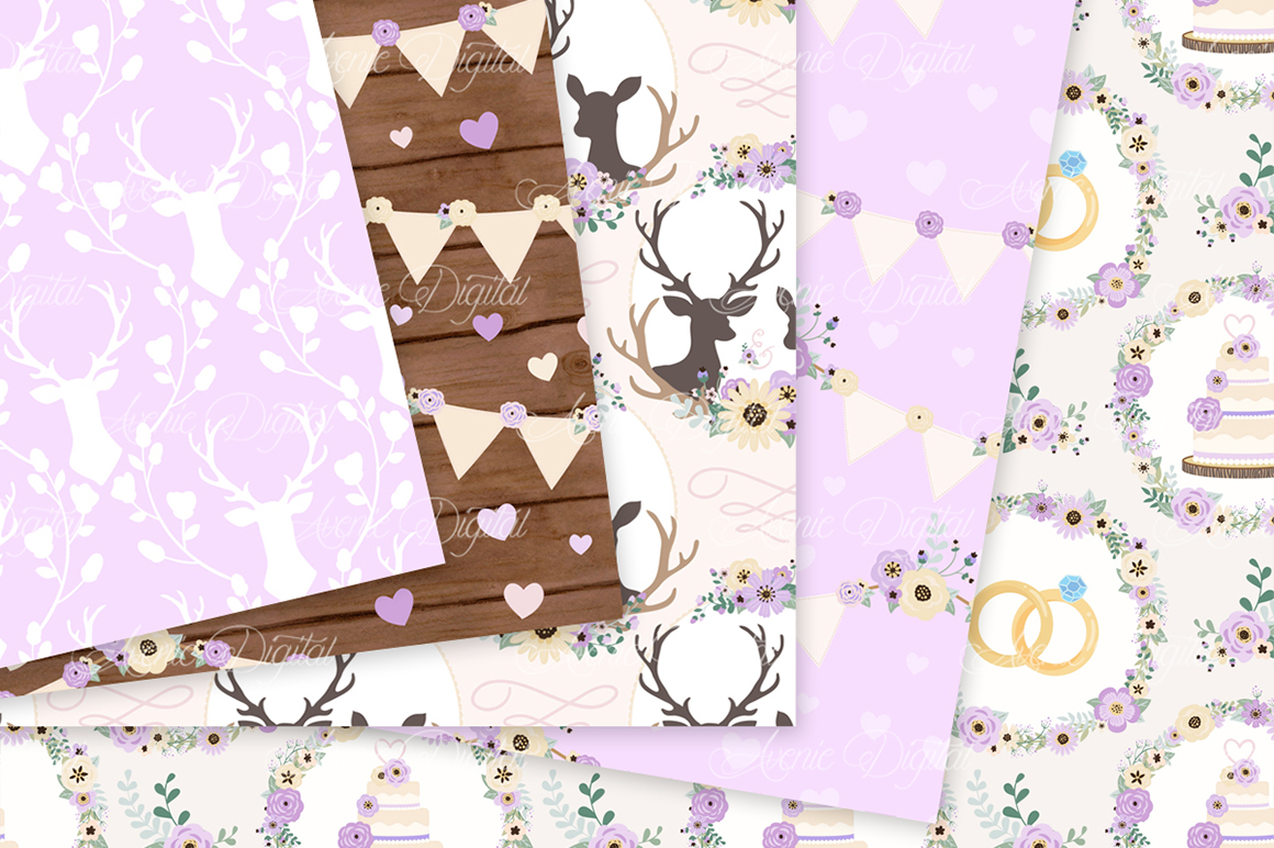 Purple Wedding Digital Paper - Lilac Rustic Wedding Deer Seamless Patterns example image 2