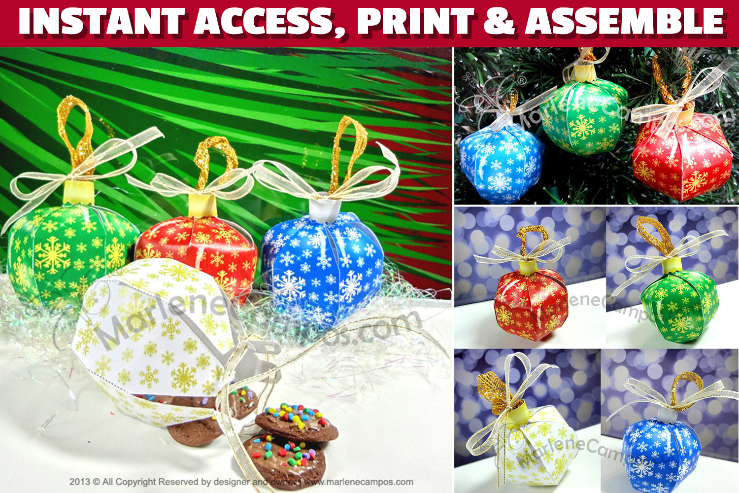 Christmas Ornaments Favor Boxes, SET of 4 PRINTABLE example image 1