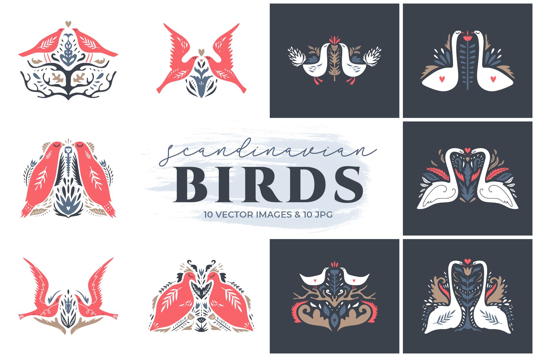 Scandinavian birds clip art set example image 1