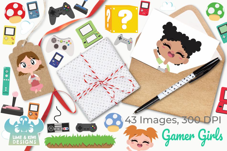 Gamer Girls Clipart, Instant Download Vector Art example image 4