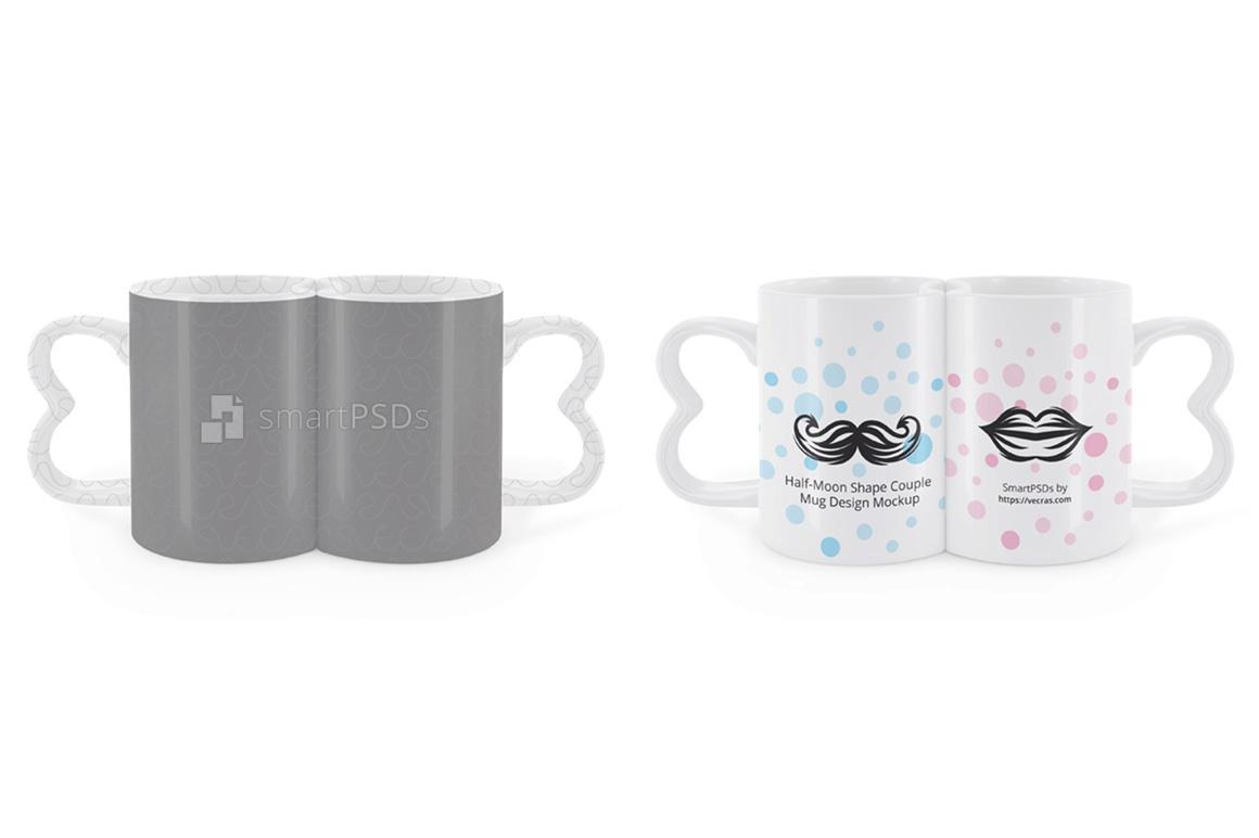 half moon shape couple coffee mugs desi design bundles