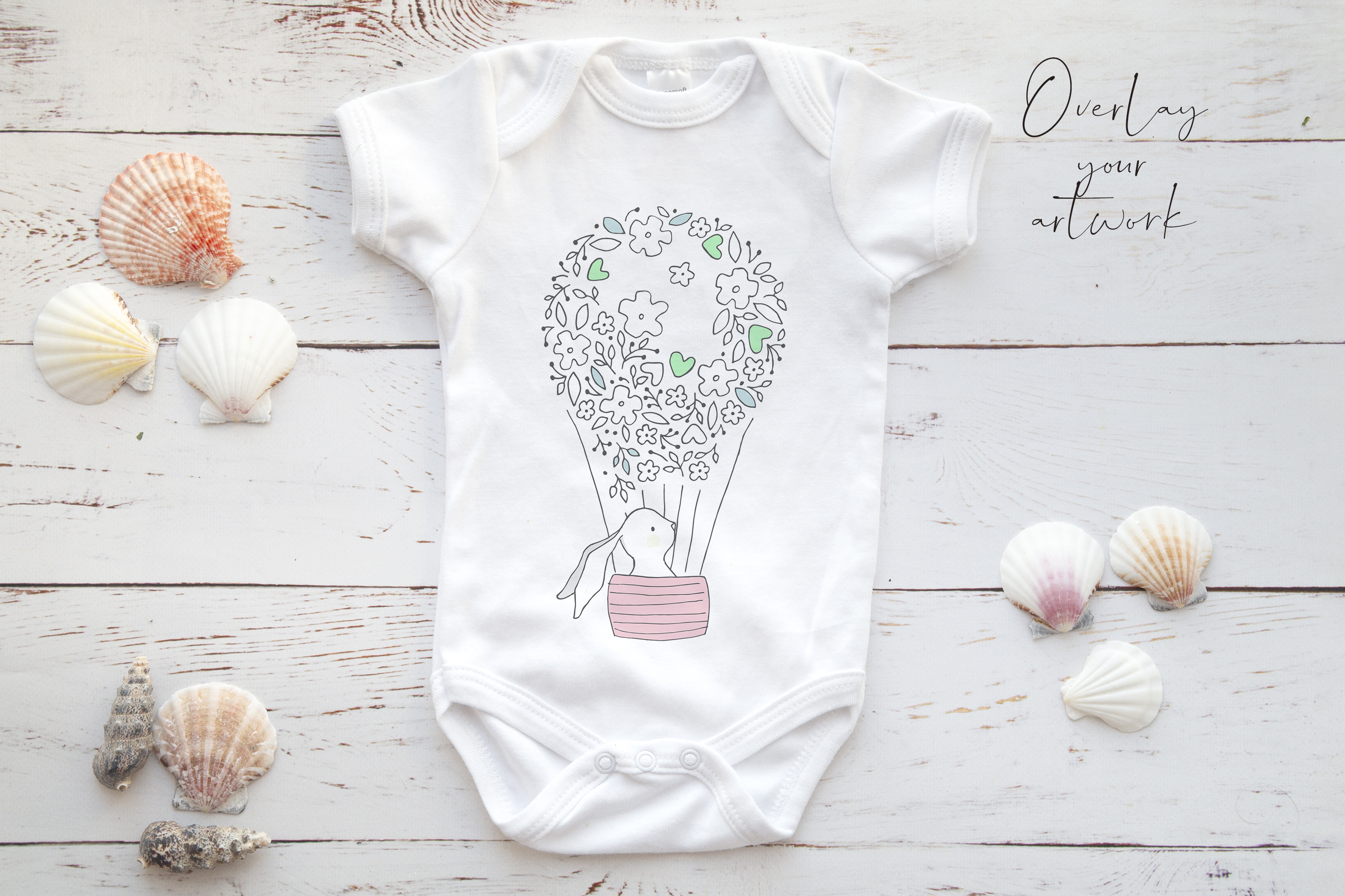 Onsie, Infant bodysuit Mockup, neutral shells example image 2