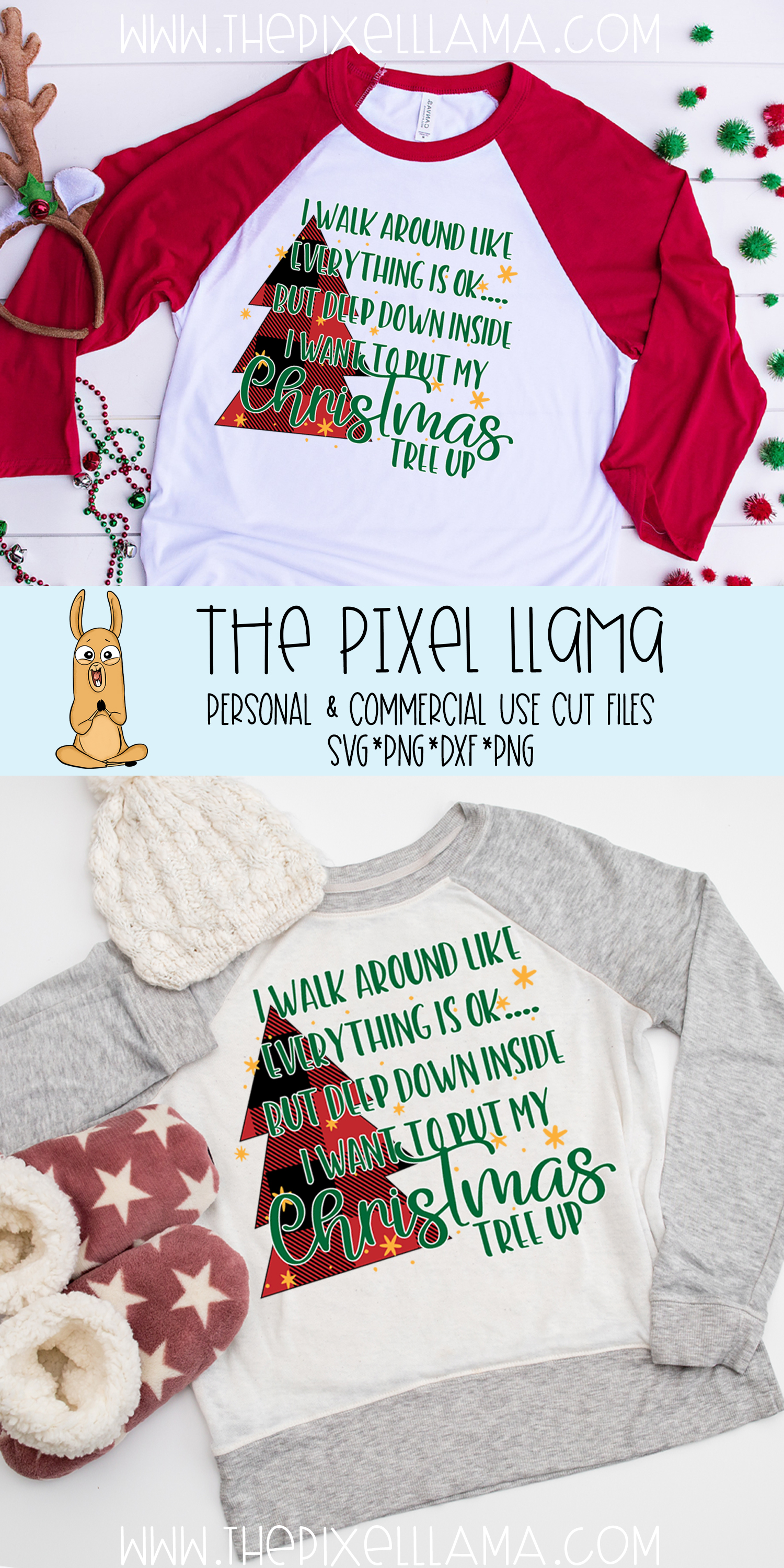 Deep Down I Want To Put My Christmas Tree Up Plaid SVG example image 4