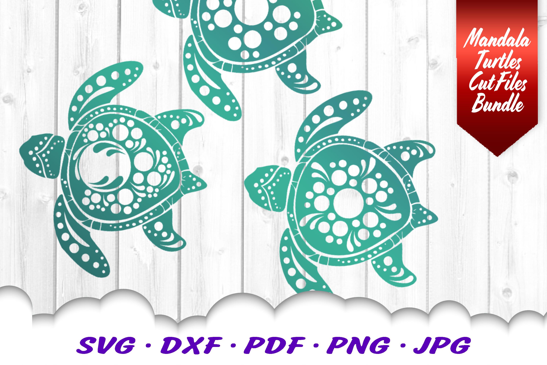Mandala Sea Turtle SVG DXF Cut Files Bundle V3 example image 4