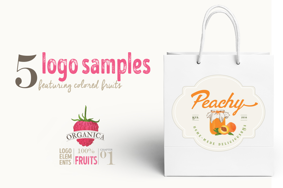 ORGANIC LOGO ELEMENTS  FRUITS example image 11