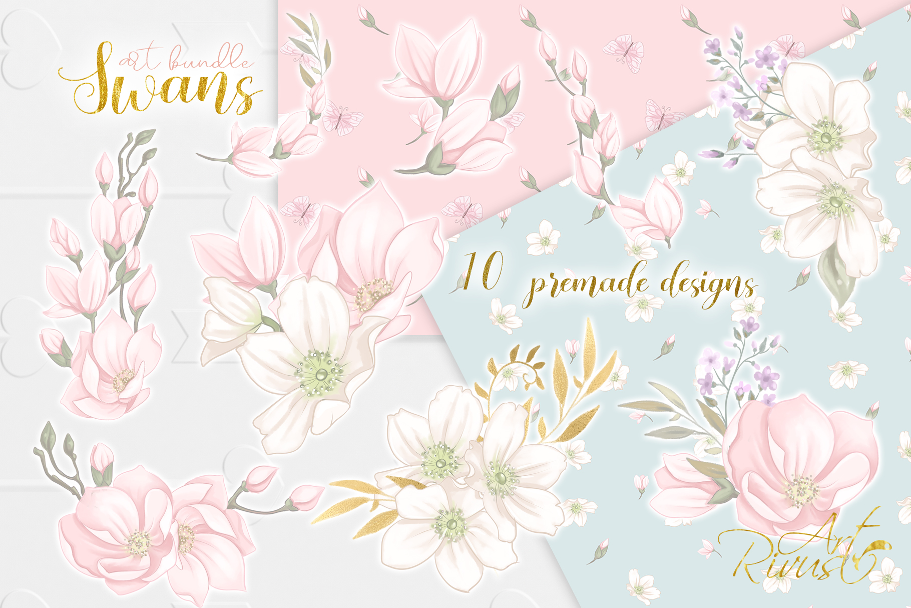 Swans clipart bundle. Wedding and baby shower graphic pack. example image 7