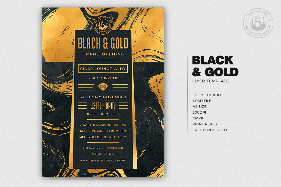 Black and Gold Flyer Template V12 example image 2