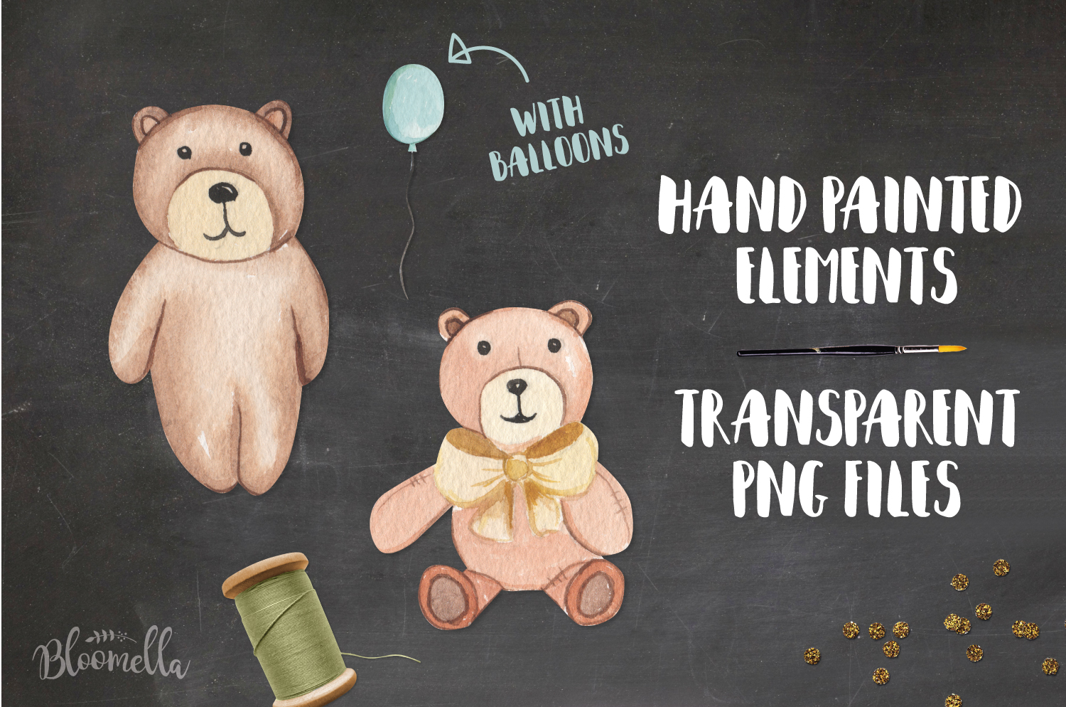 Teddy Bear Watercolor 10 Elements With Balloons Fun Bears example image 2