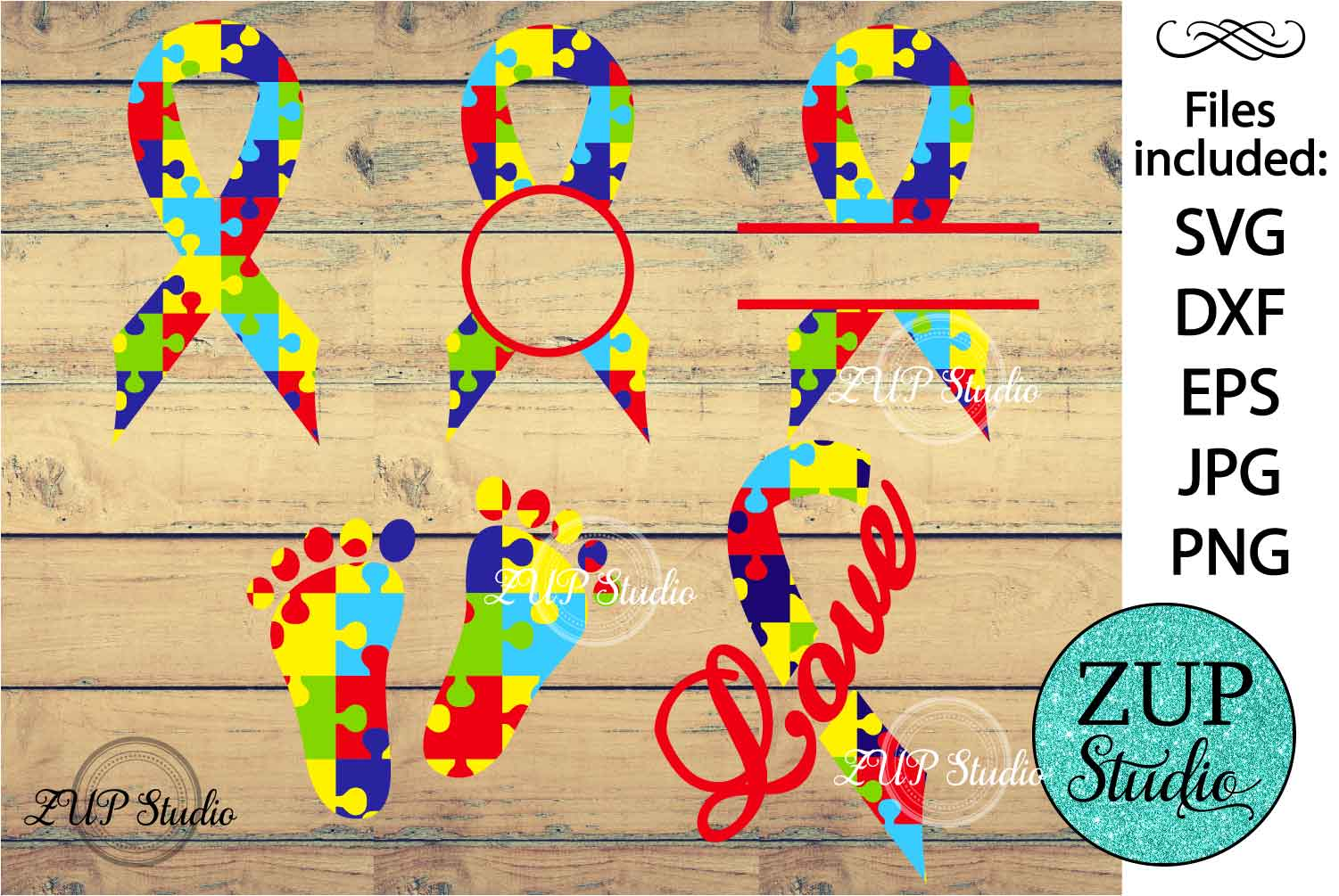 Autism Ribbon cutting files svg 4 example image 1