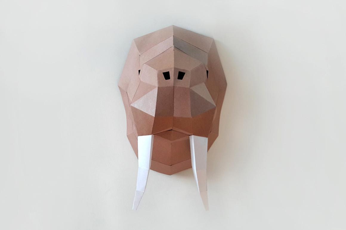 DIY Walrus Trophy - 3d papercraft example image 2