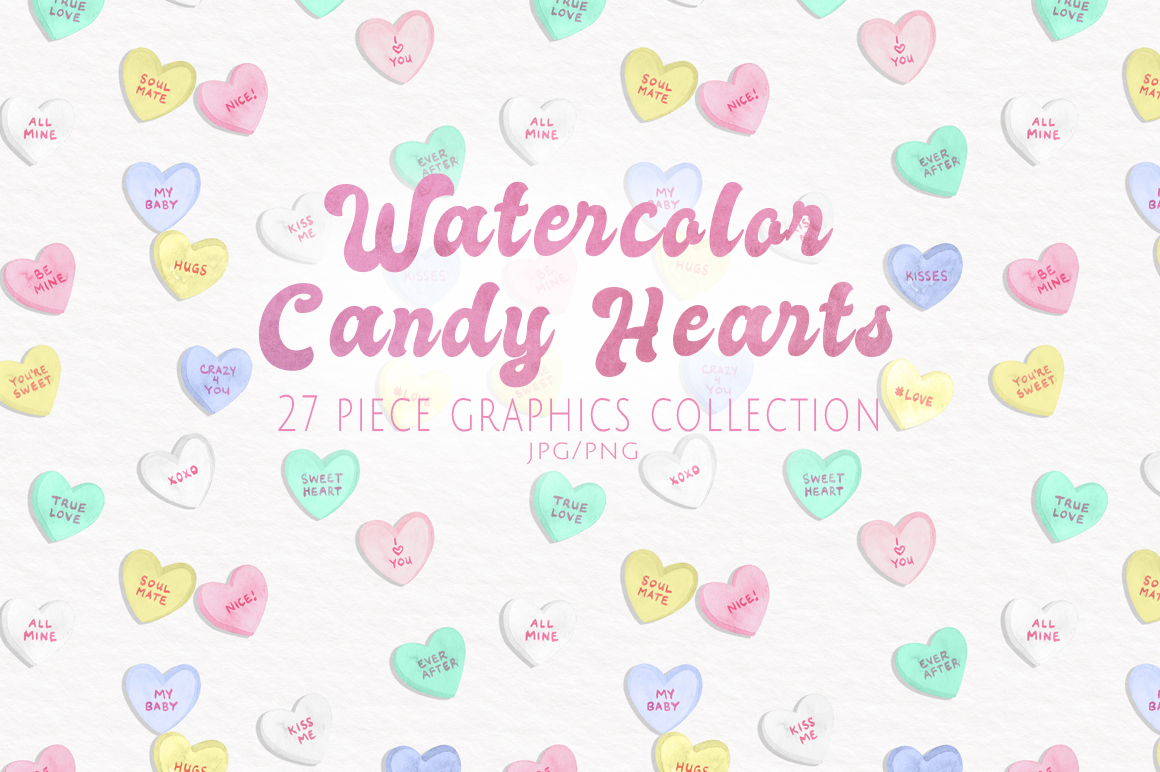 Watercolor Candy Hearts Set example image 1
