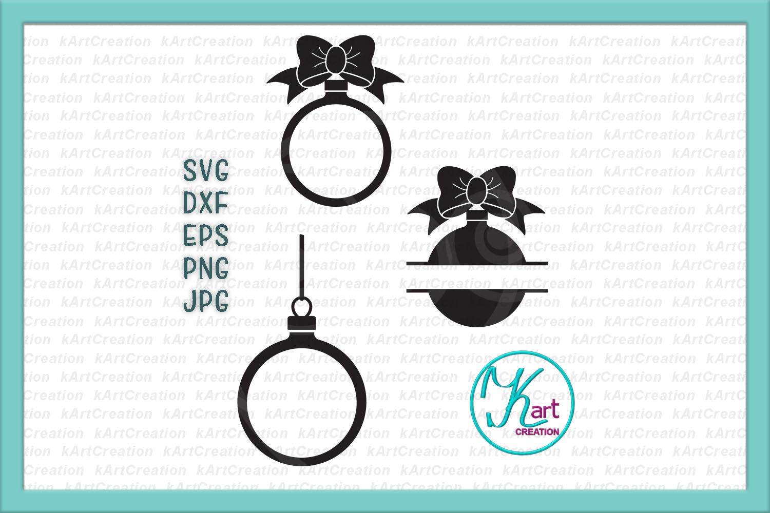 Set of Christmas balls monogram svg dxf craft files to cut example image 1