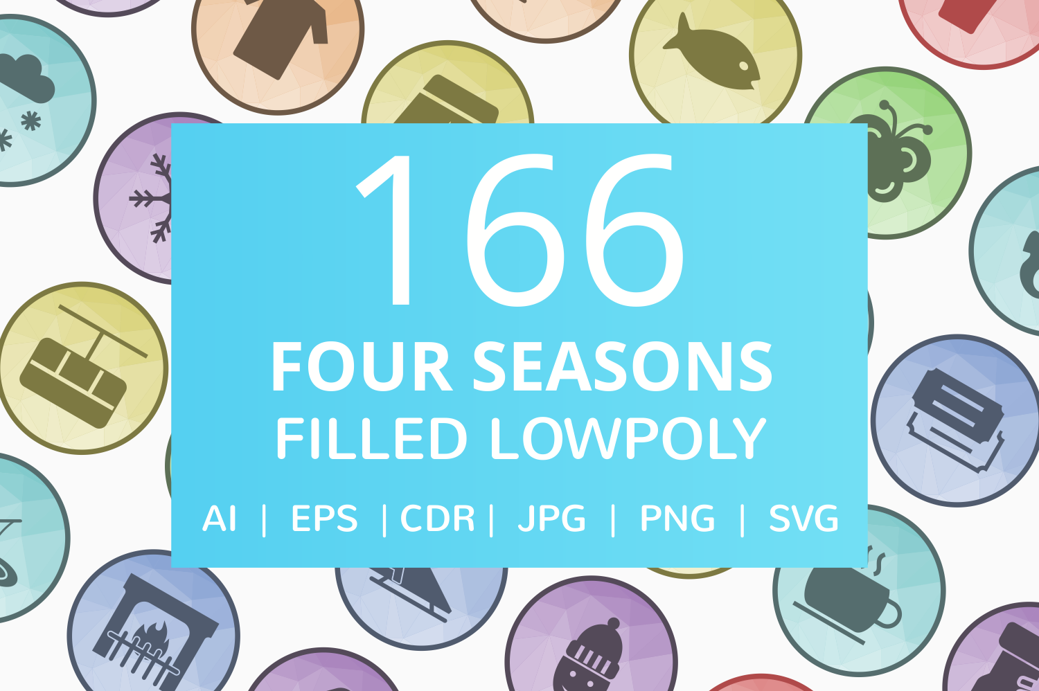 166 Four Seasons Filled Low Poly Icons example image 1
