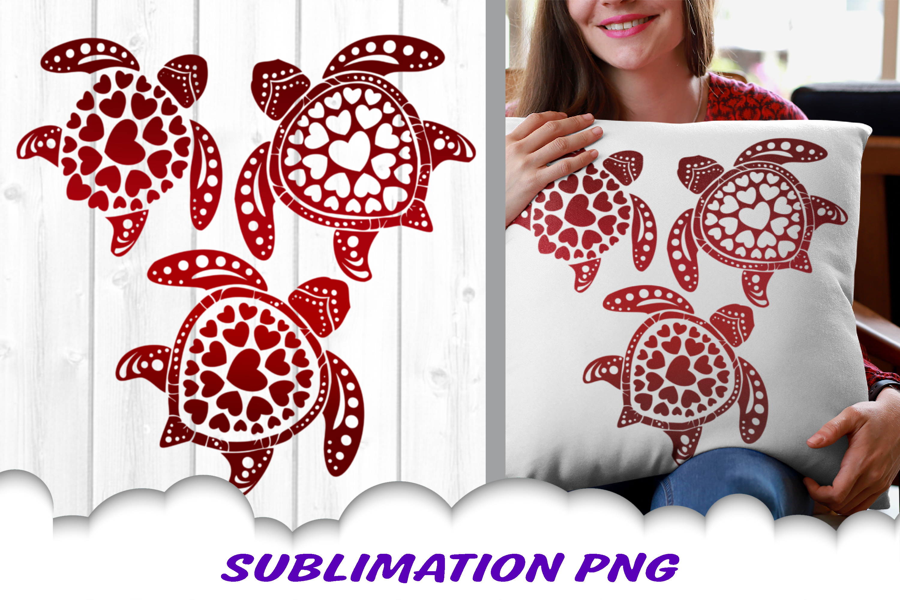 Valentines Day Sea Turtles Hearts Sublimation PNG example image 1