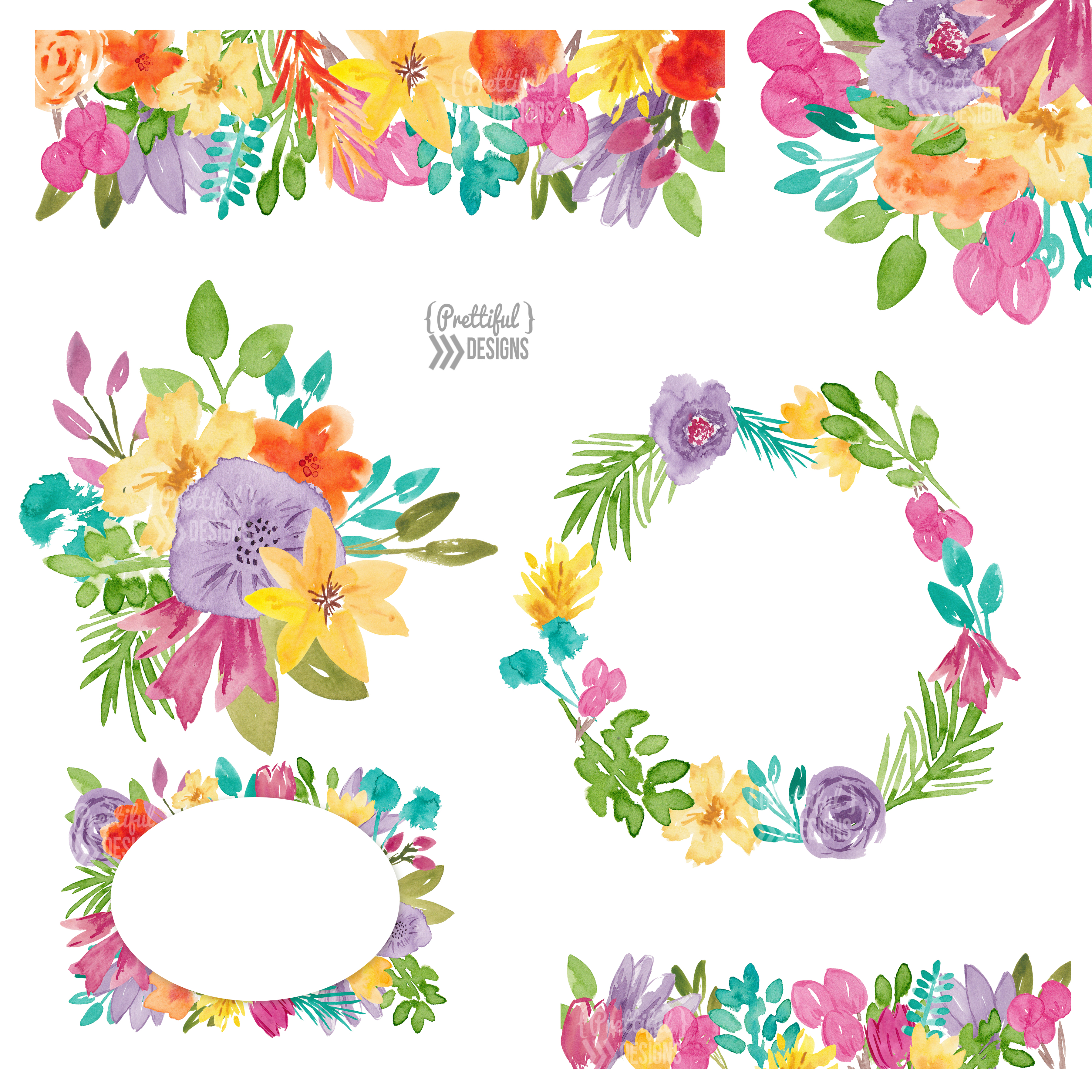 Spring Flower Watercolor Clip Art example image 2