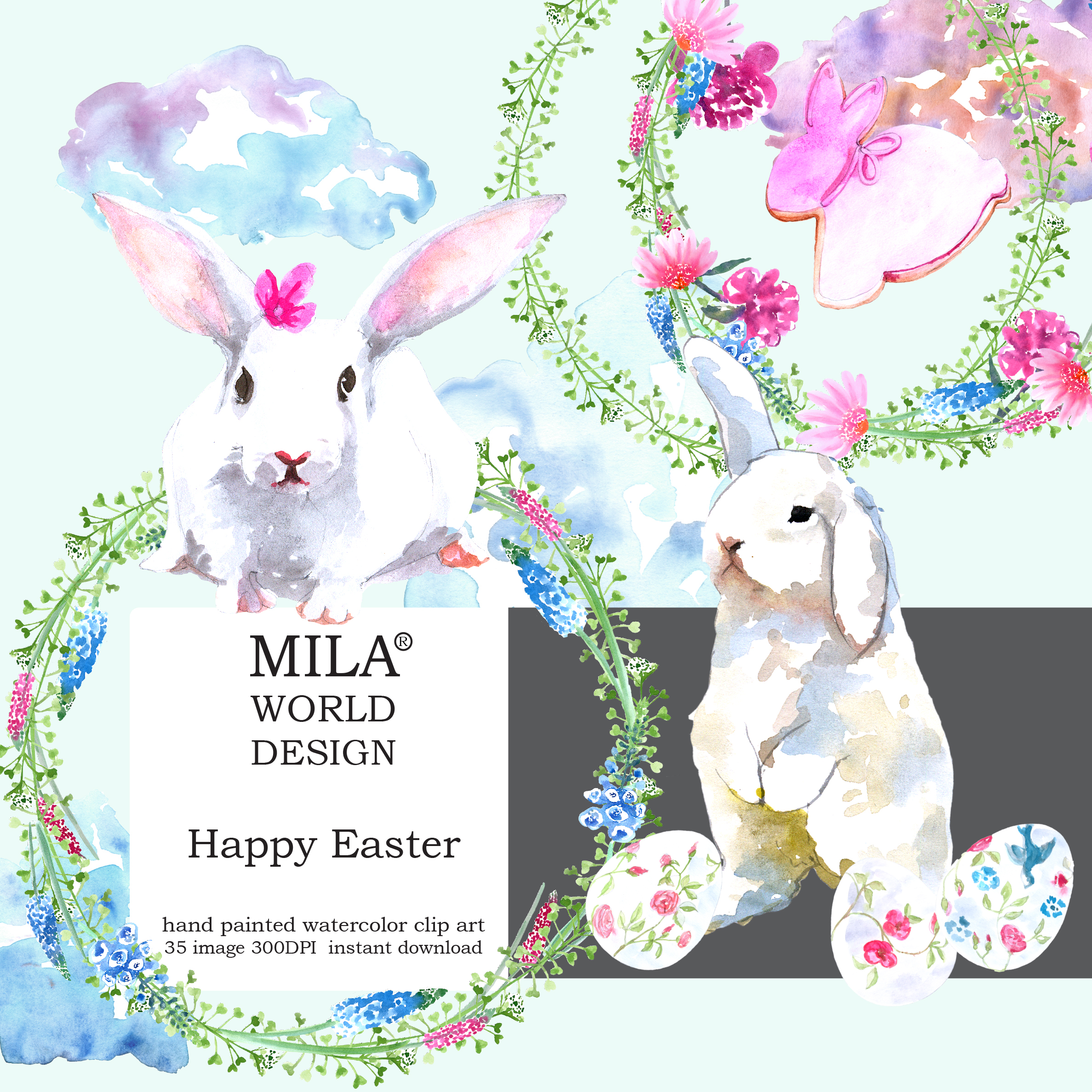 Watercolor Easter clipart example image 10
