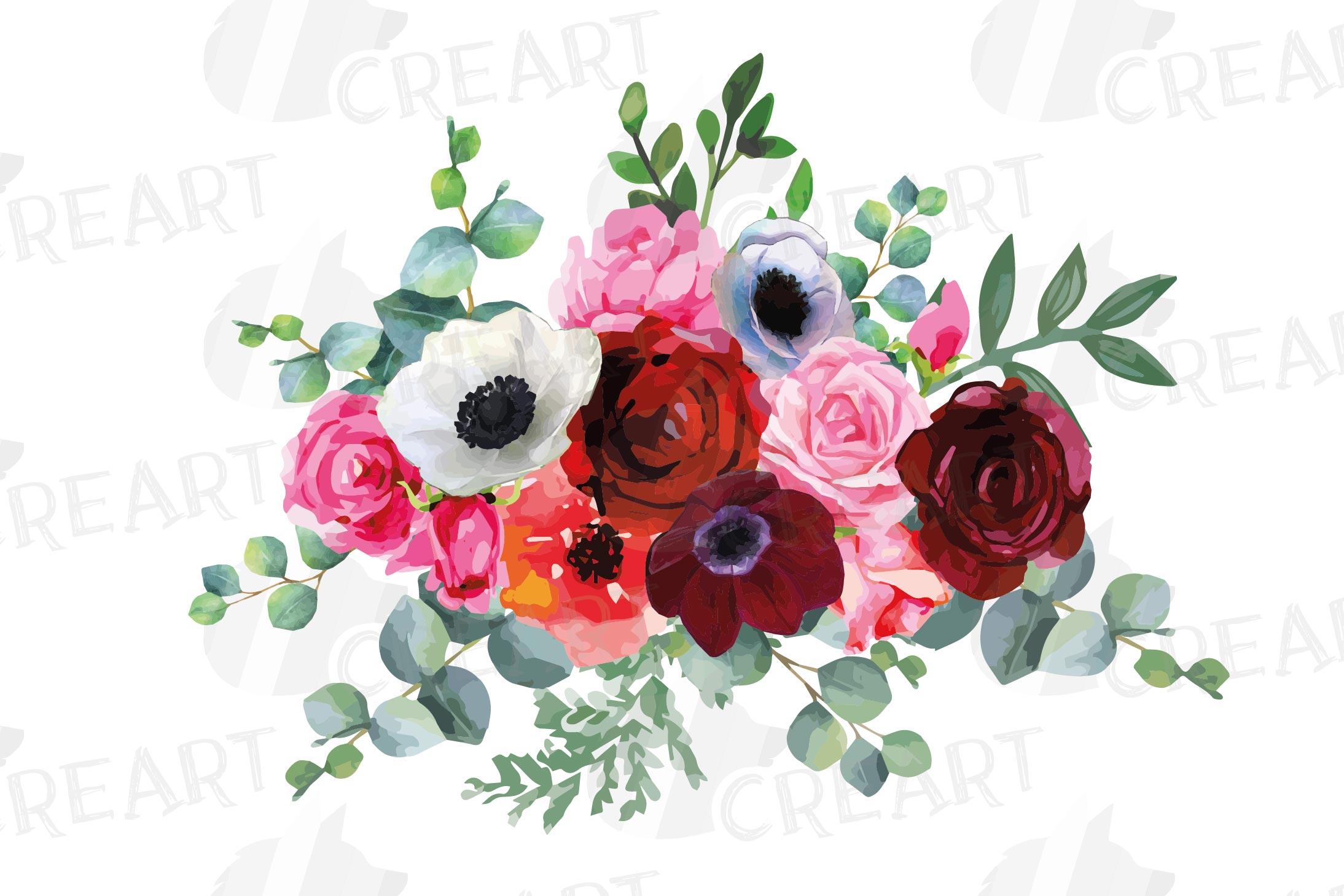 Watercolor elegant floral bouquets, rose, anemone decoration example image 12
