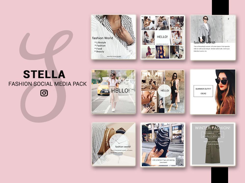 Fashion Social Media Pack Social Media Bundle 20 Square Social