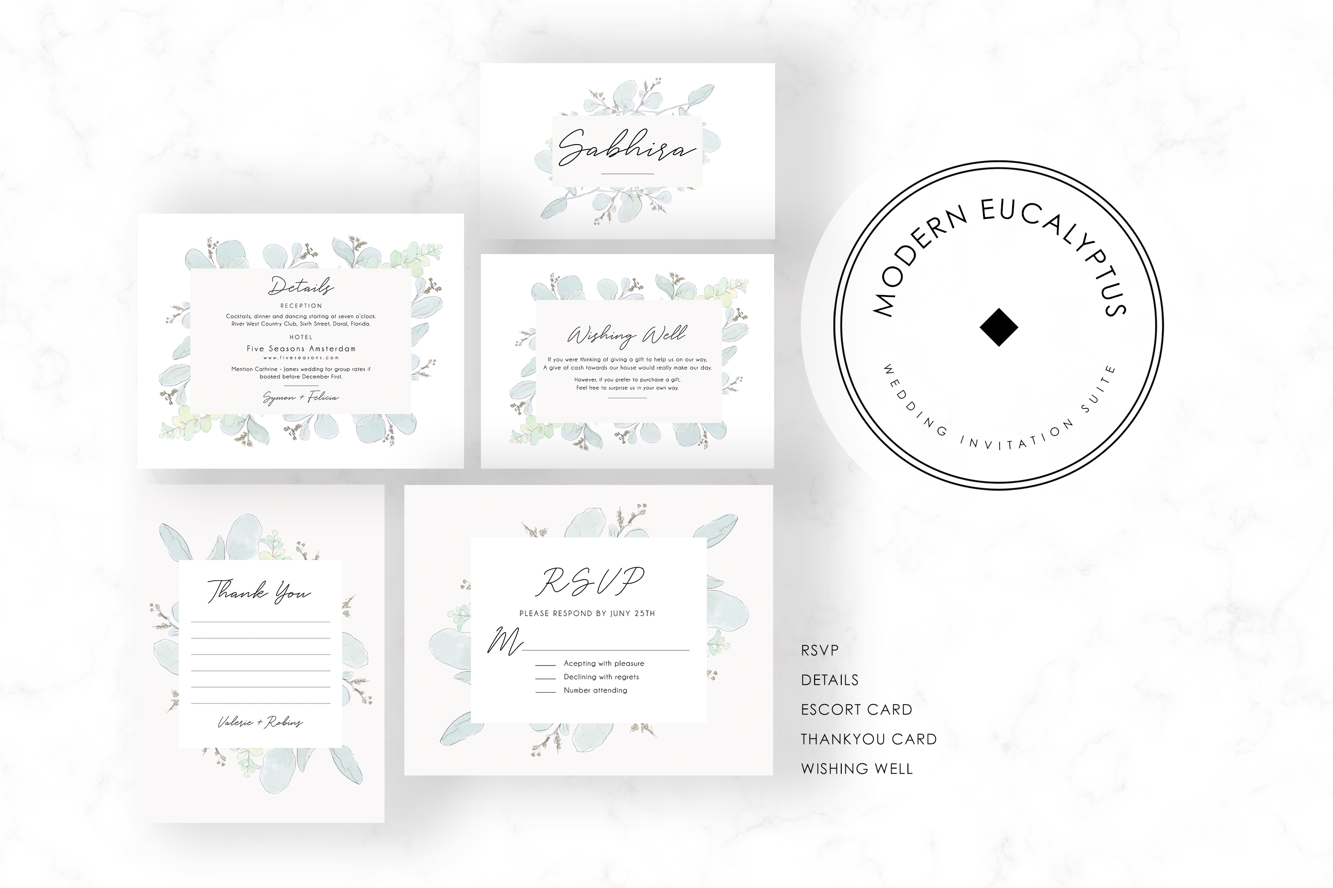 Modern Eucalyptus Wedding Suite example image 3