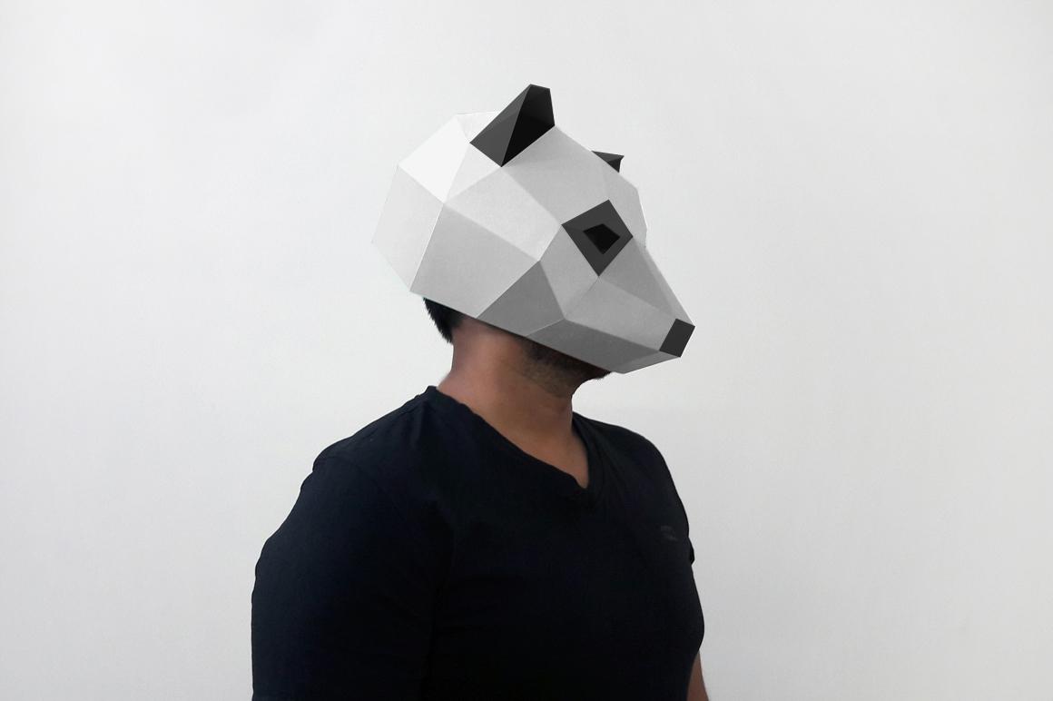 DIY Panda Mask - 3d papercraft example image 3