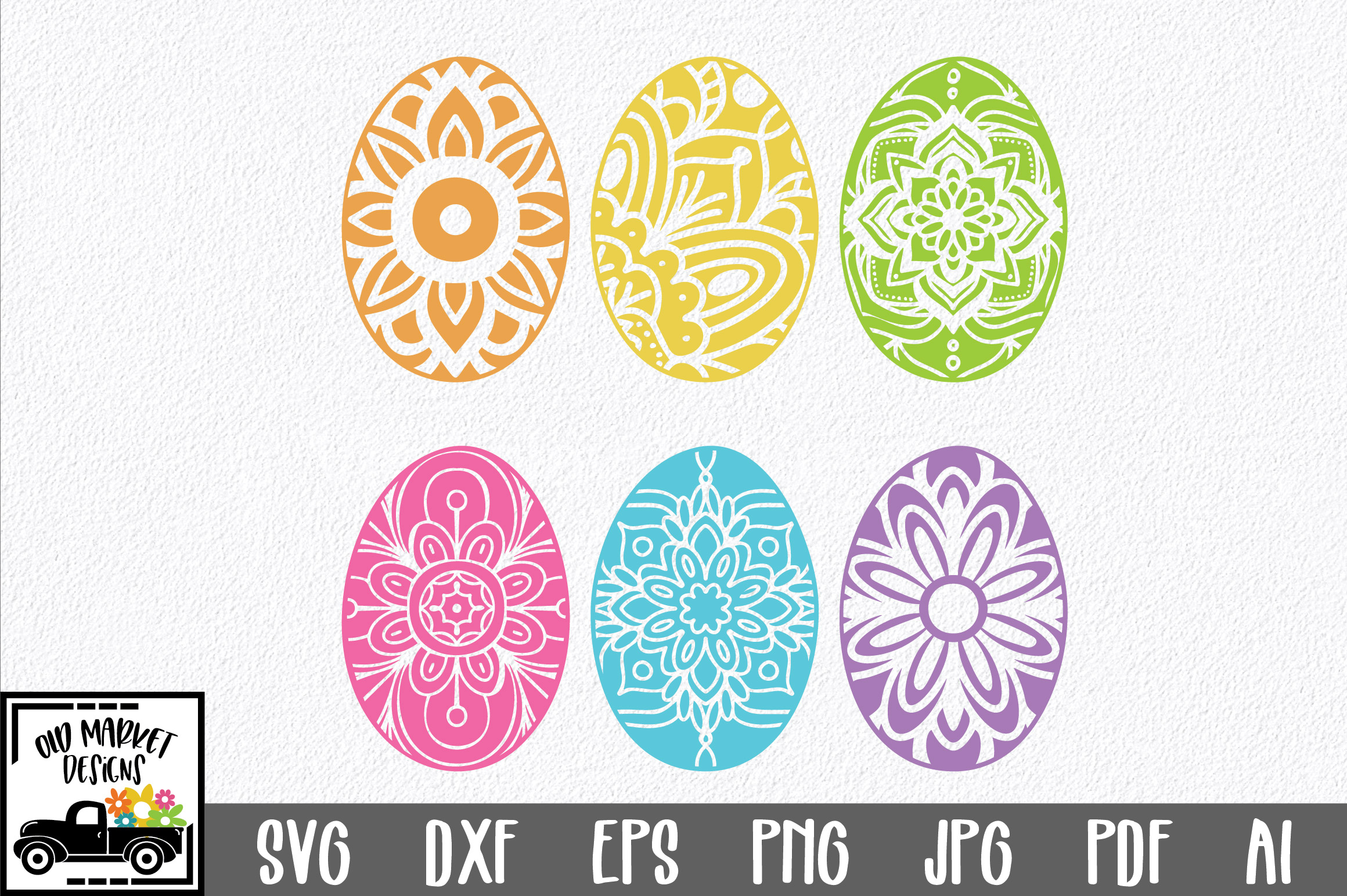 Easter SVG Cut File - Mandala Easter Eggs SVG DXF EPS PNG AI example image 1