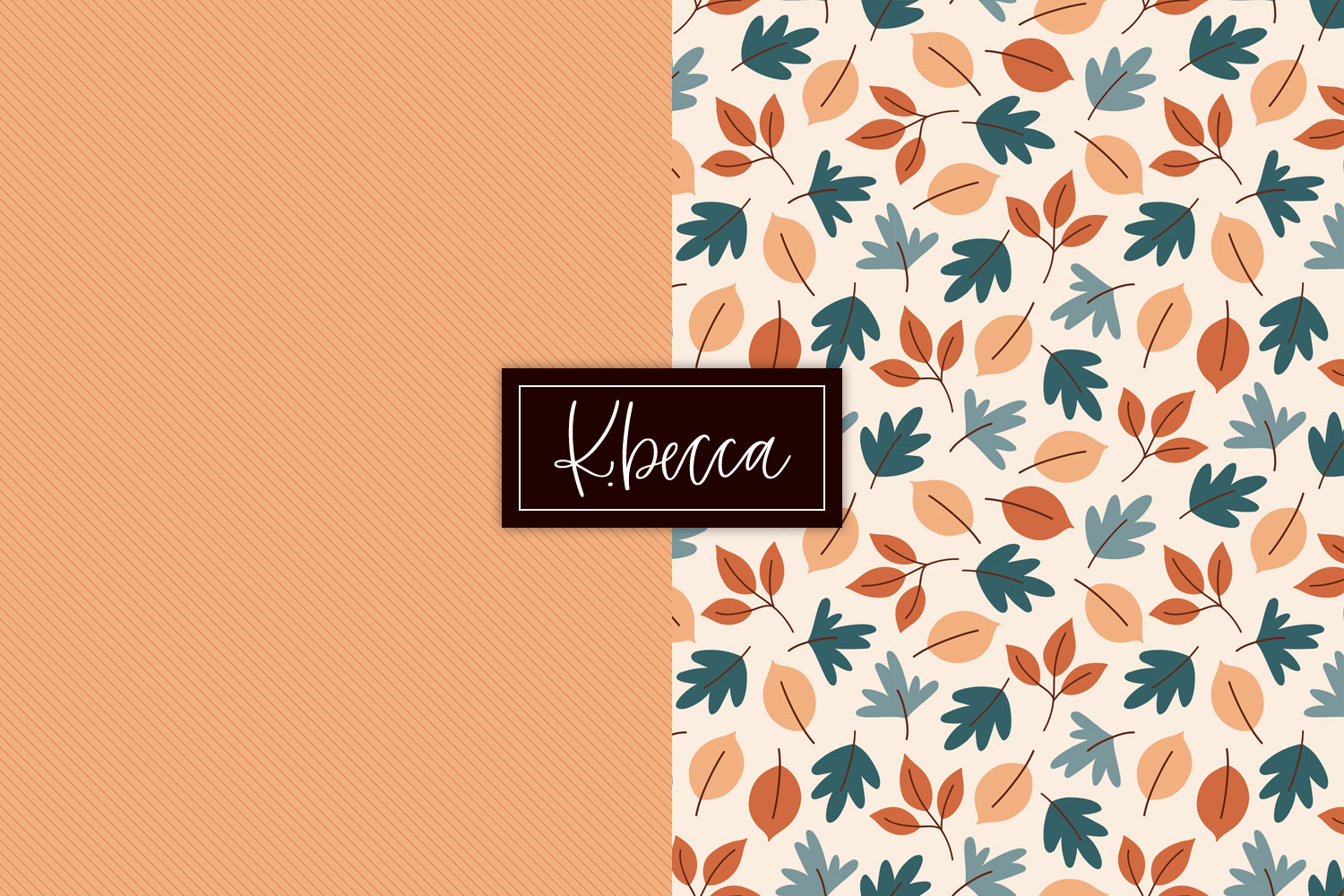 Fall Leaves & Pumpkins Background Patterns Seamless example image 6