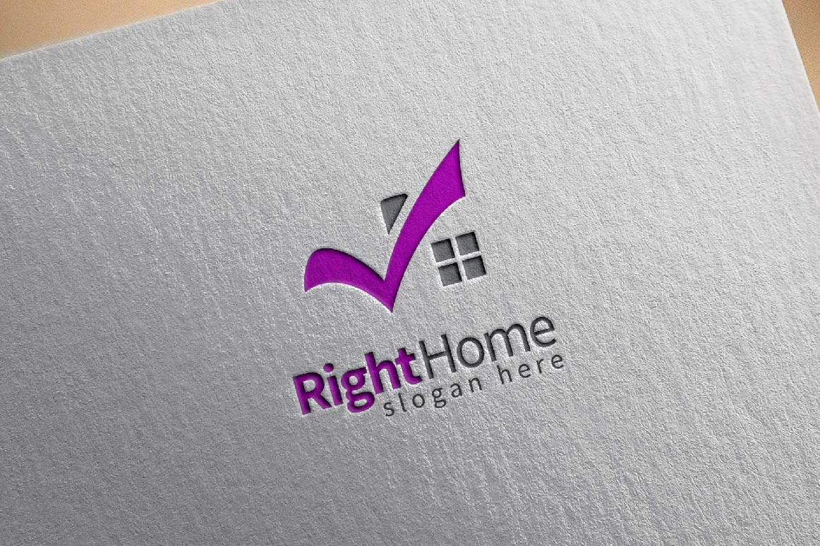 Real estate logo,check home, house logo example image 2