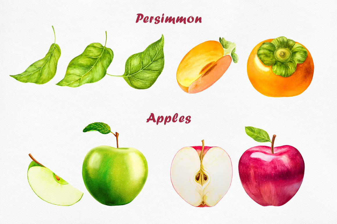 Watercolor Fruits collection example image 2