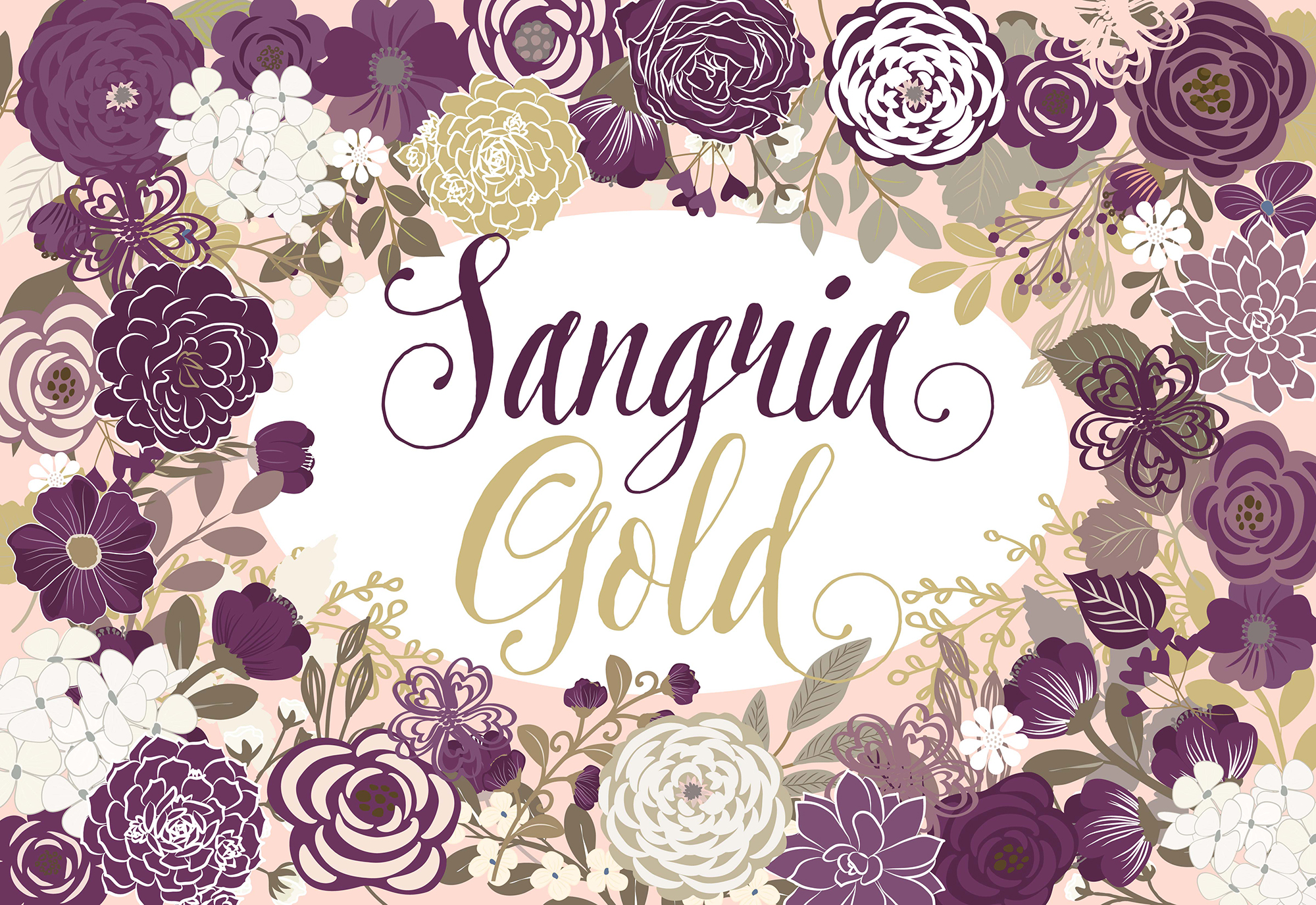 Vector Sangria and Gold floral clip arts example image 1