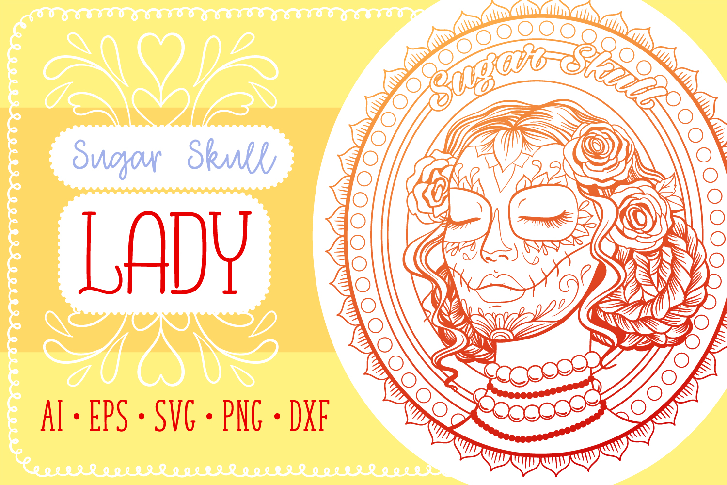 Sugar Skull Lady Coloring Page SVG cut file example image 1