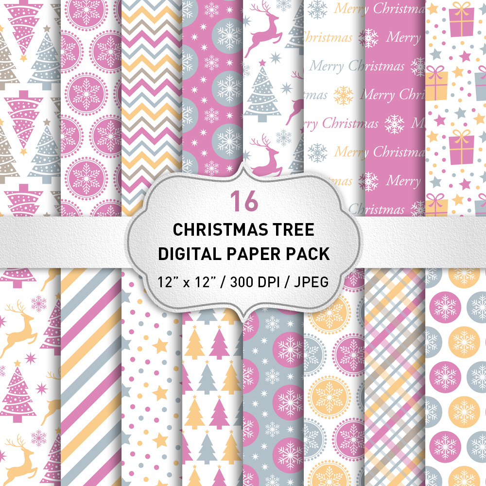 Christmas Digital Paper Pack / Backgrounds / Pink Christmas Digital Paper Set / Scrapbooking / Patterns / Printables / Card Making example image 1