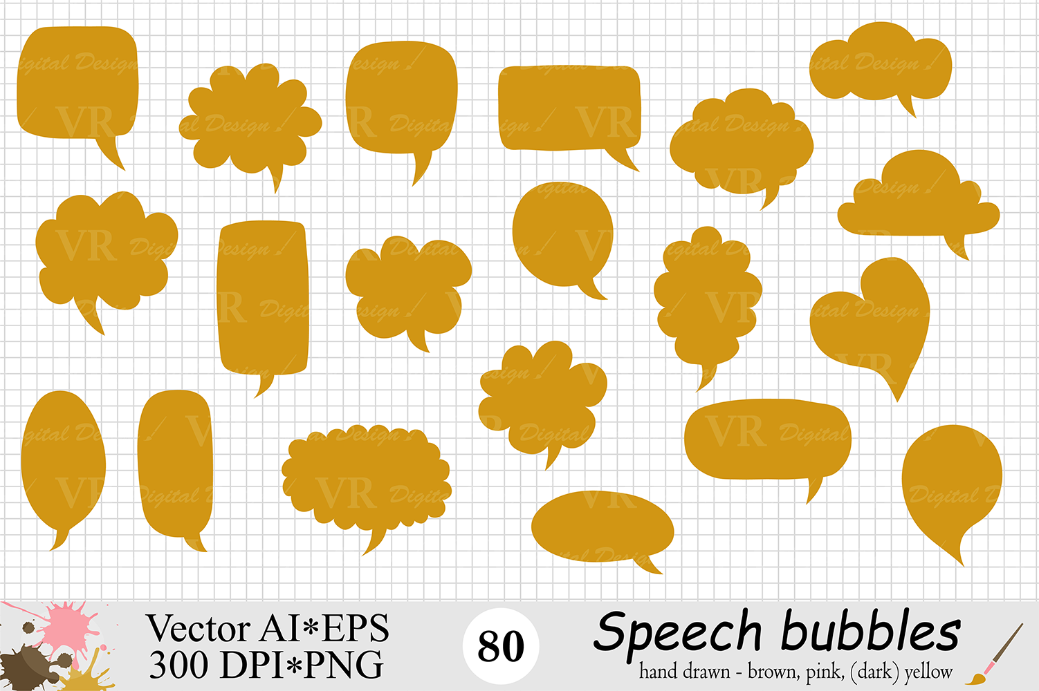 Speech Bubbles Clipart / Chat Bubbles / Hand drawn Text bubbles / Brown, Pink, Yellow - Vector example image 4