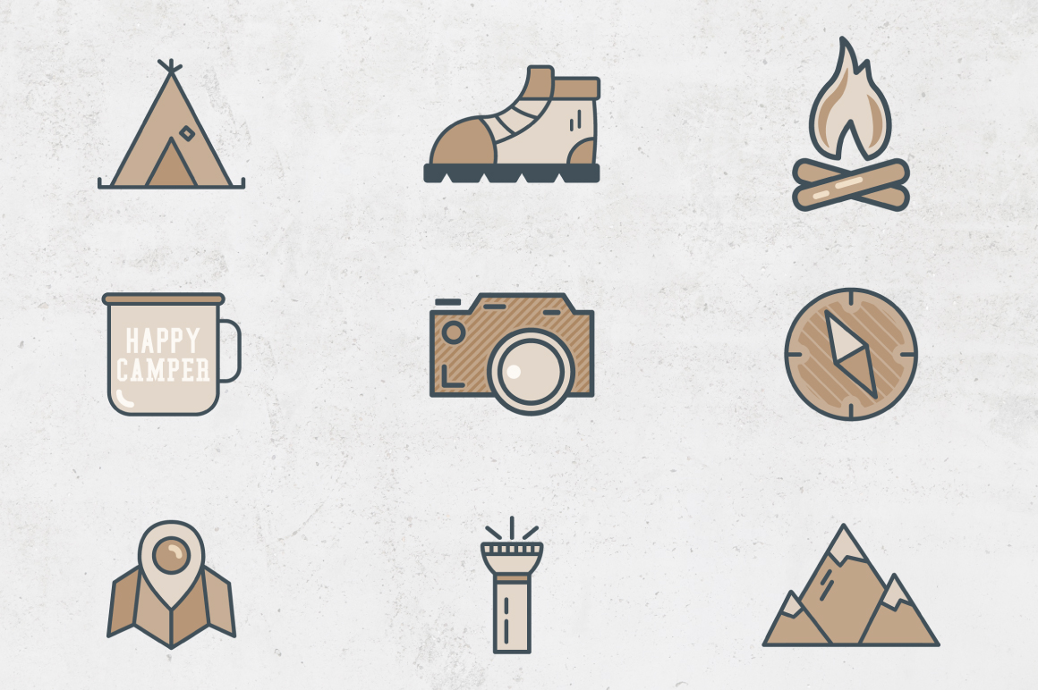 Camping Flat Icons example image 3