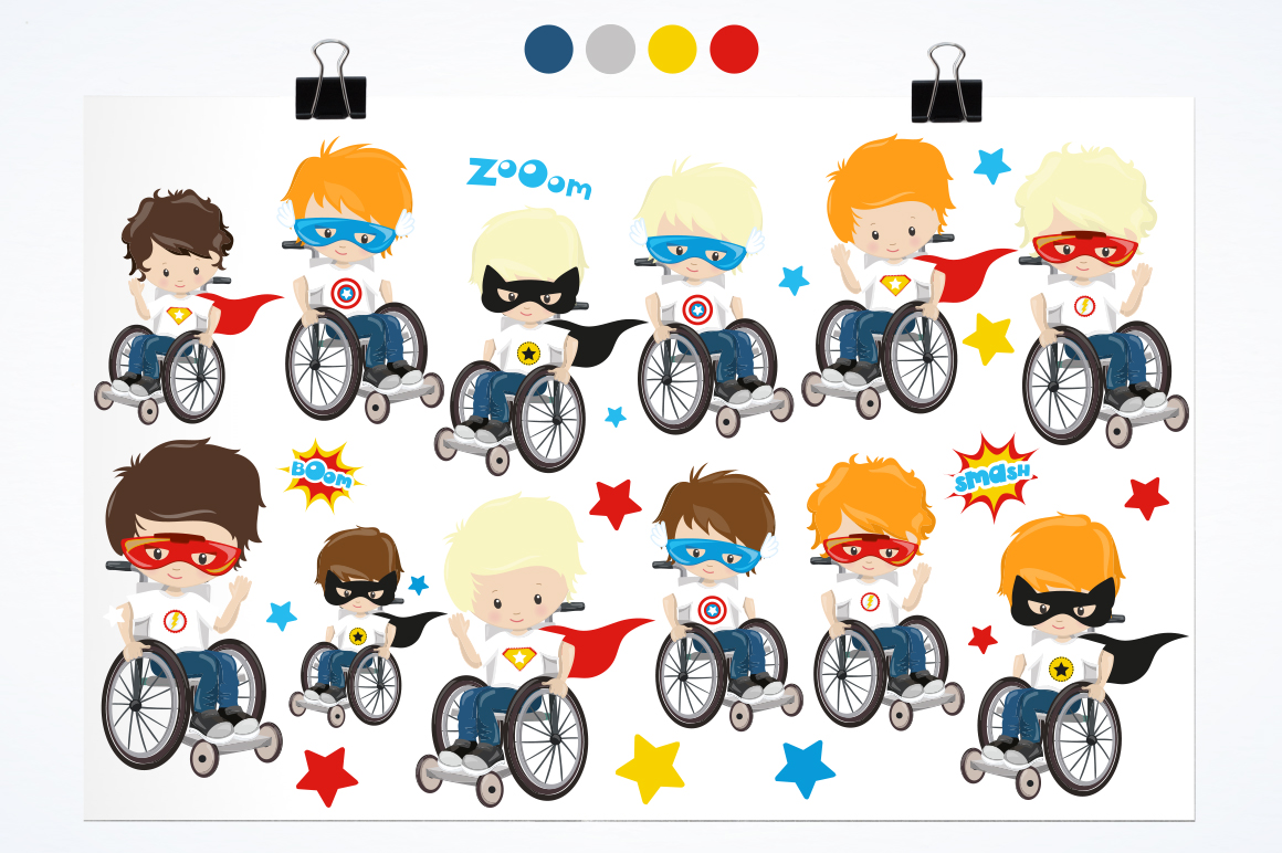 Kids in wheelchair graphic and illustrations example image 2