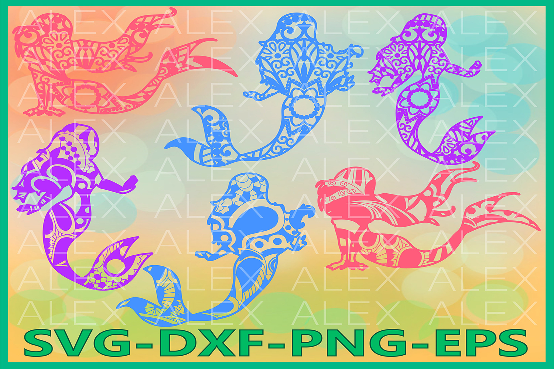 Mermaid SVG, Mermaid Mandala SVG, Mermaid Zentangle example image 1