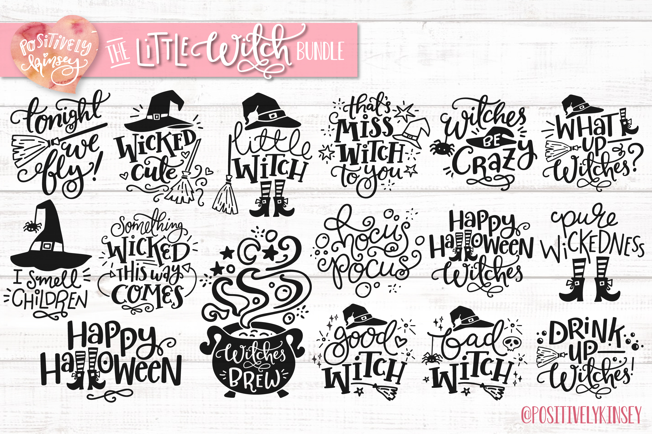 The Little Witch SVG Bundle, Halloween SVG DXF PNG EPS Files example image 3