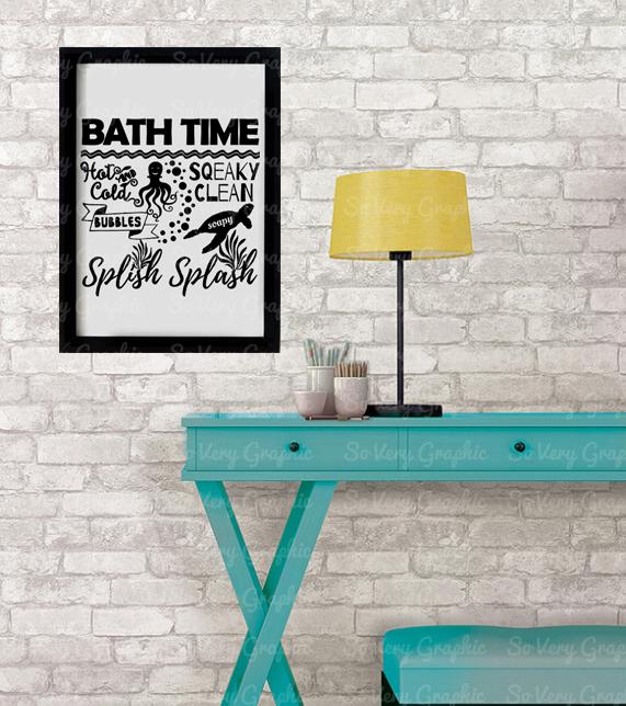 Bath Time Sign | SVG Cut File | PNG Printable | Kids example image 3