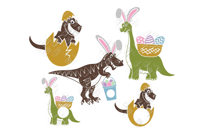 Dinosaur Easter SVG Basket in SVG, DXF, PNG, EPS, JPEG example image 1