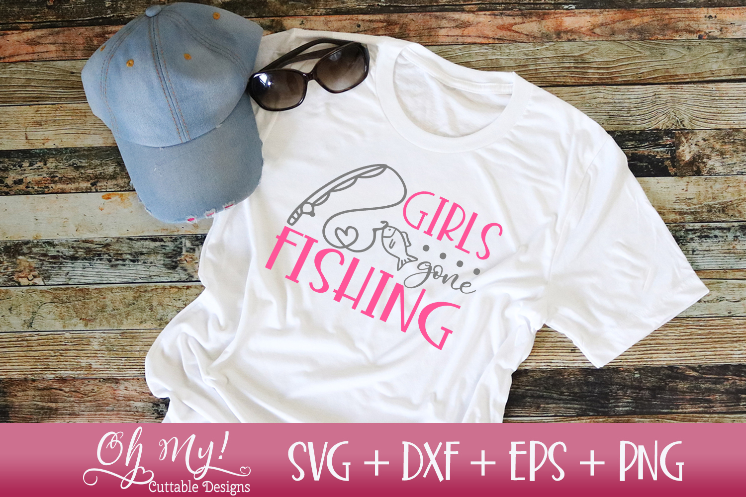 Girls Gone Fishing - SVG DXF EPS PNG Cutting example image 2
