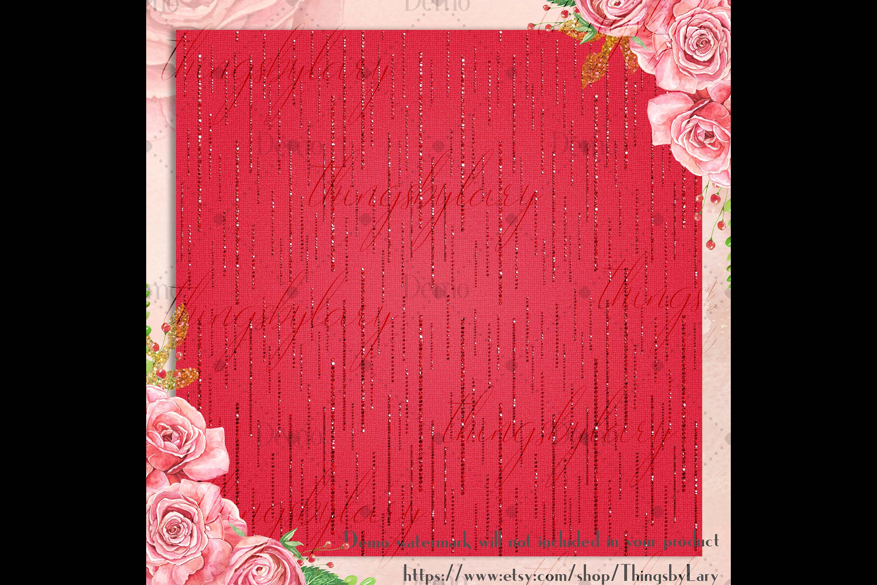 16 Red Glitter Christmas Printable Digital Papers 12 x 12 in example image 6