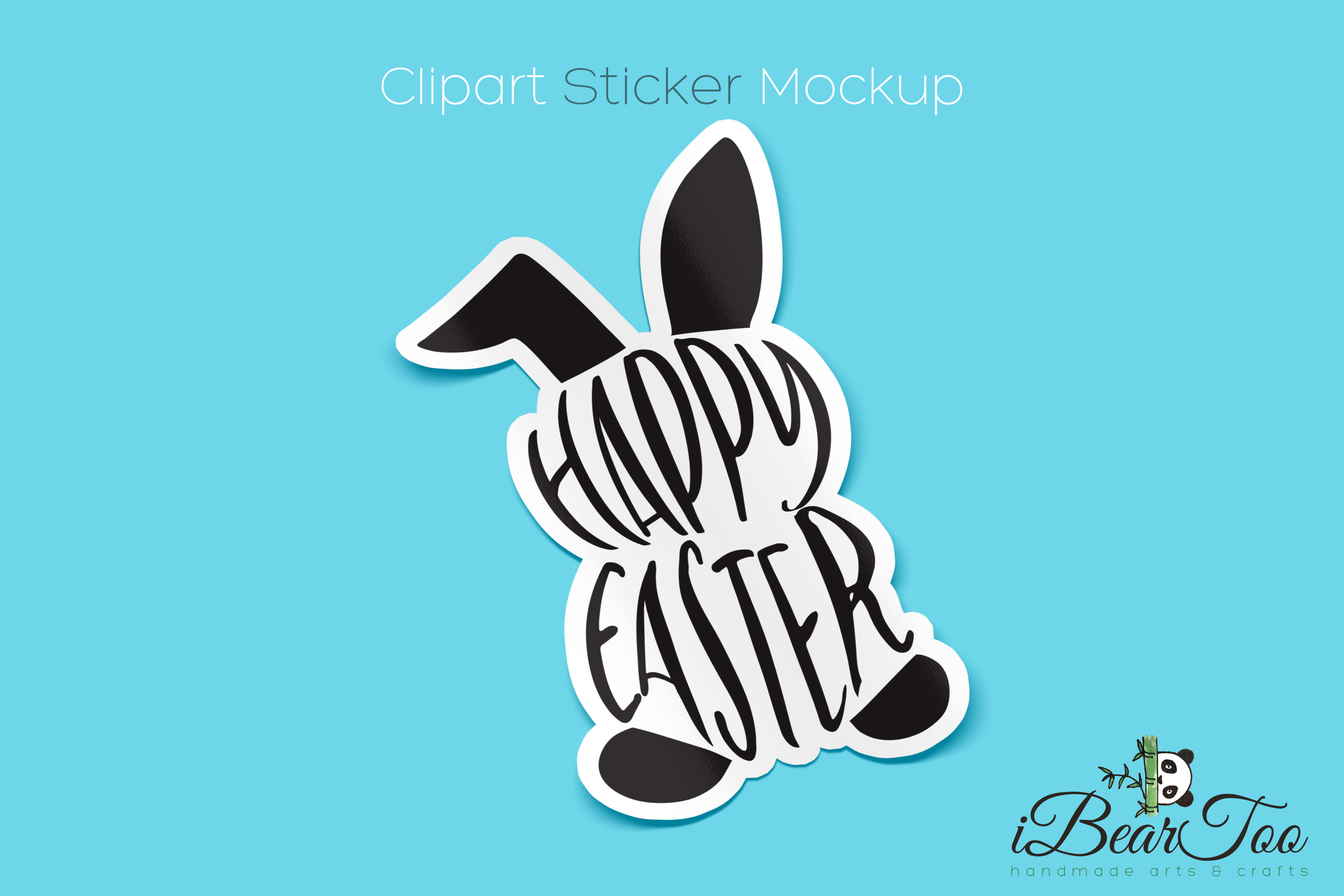 Happy Easter Bunny SVG Rabbit Black Clipart Vector Cut Files example image 4