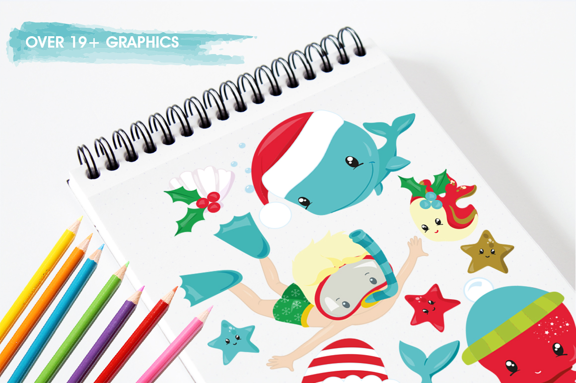 Christmas underwater graphics and illustrations example image 3