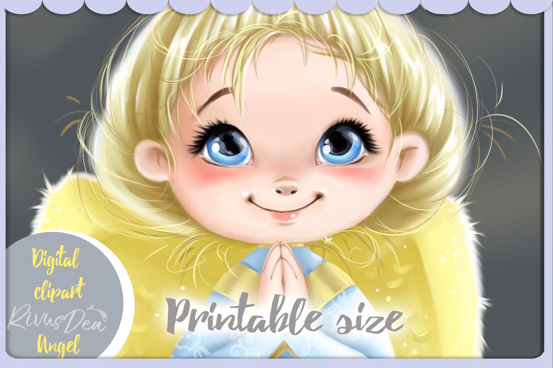 Cute Angel girl with moon and stars Christmas clipart kit example image 4