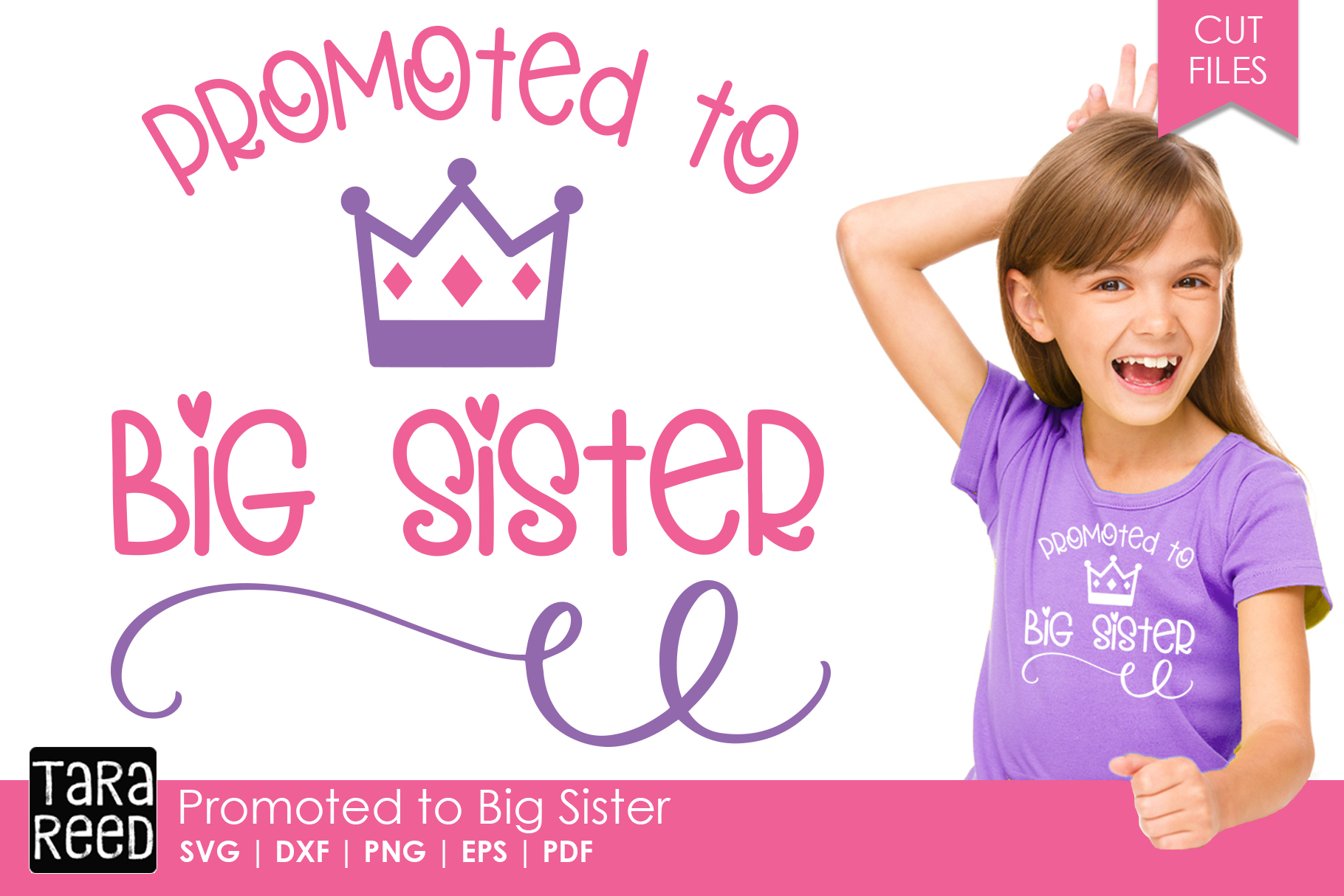 Promoted to Big Sister - Family SVG and Cut Files example image 1