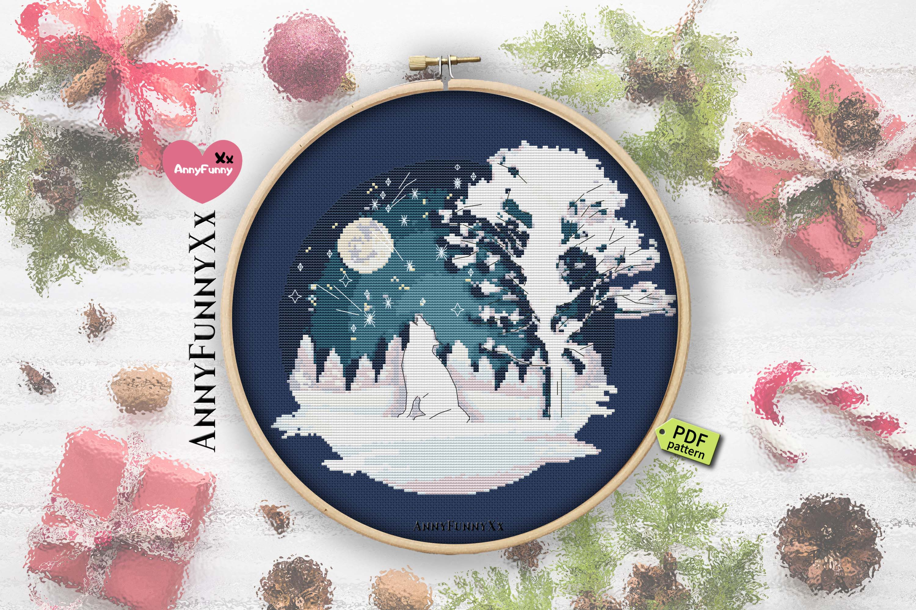 Cross stitch pattern christmas vacation Set example image 5