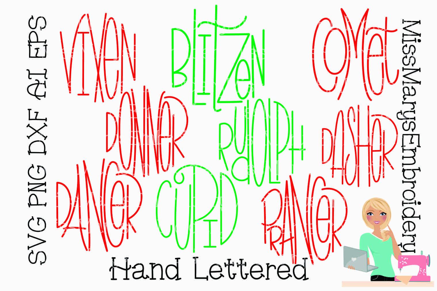 Reindeer Names SVG   Christmas SVG   Ornament Sayings SVG   example image 1