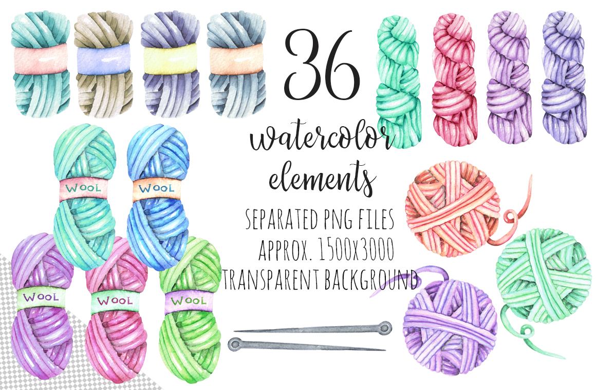 Knitting Watercolor Clip art example image 5