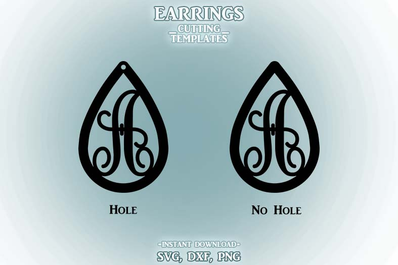 Letter A, Teardrop Monogram Earrings, SVG, Cut File, Cricut example image 2
