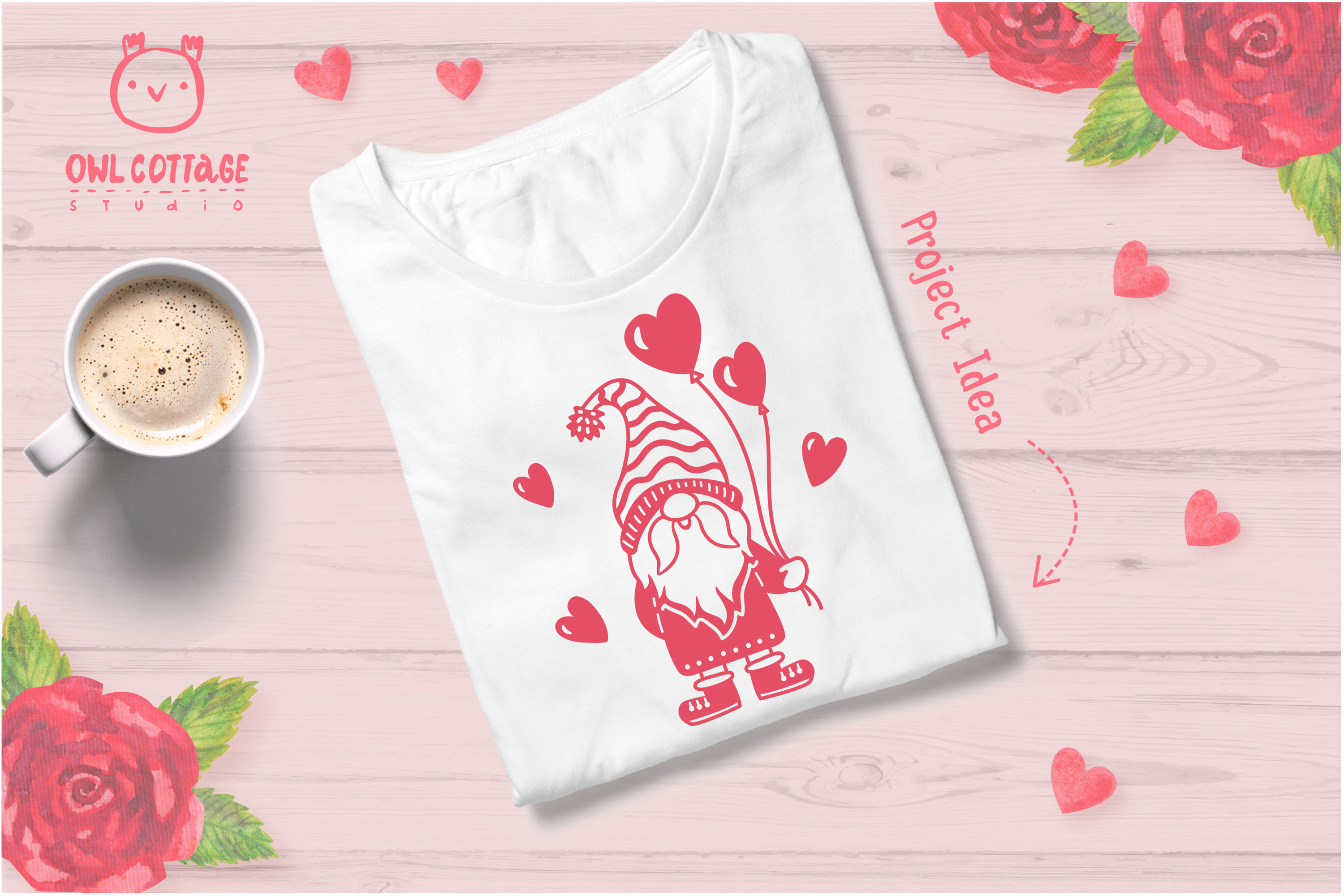 Valentine Gnomes, Gnome Holding Heart Svg, Valentine's Day S example image 8