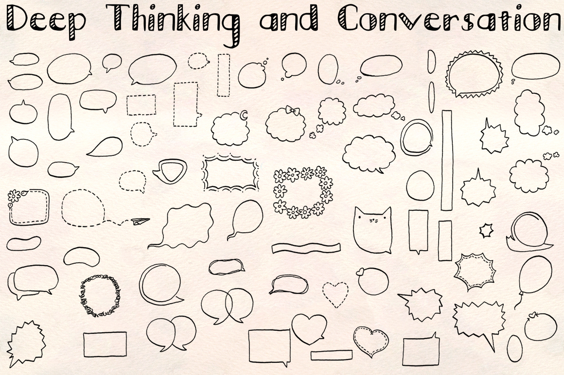 70 Comic Style Speech and Thought Bubbles Hand Drawn Vector example image 1